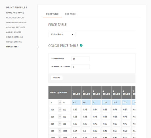 Price sheet for color price inkXE admin