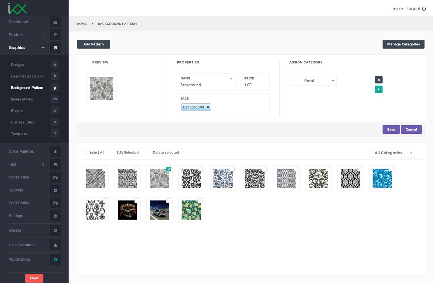 background pattern set inkxe designer admin