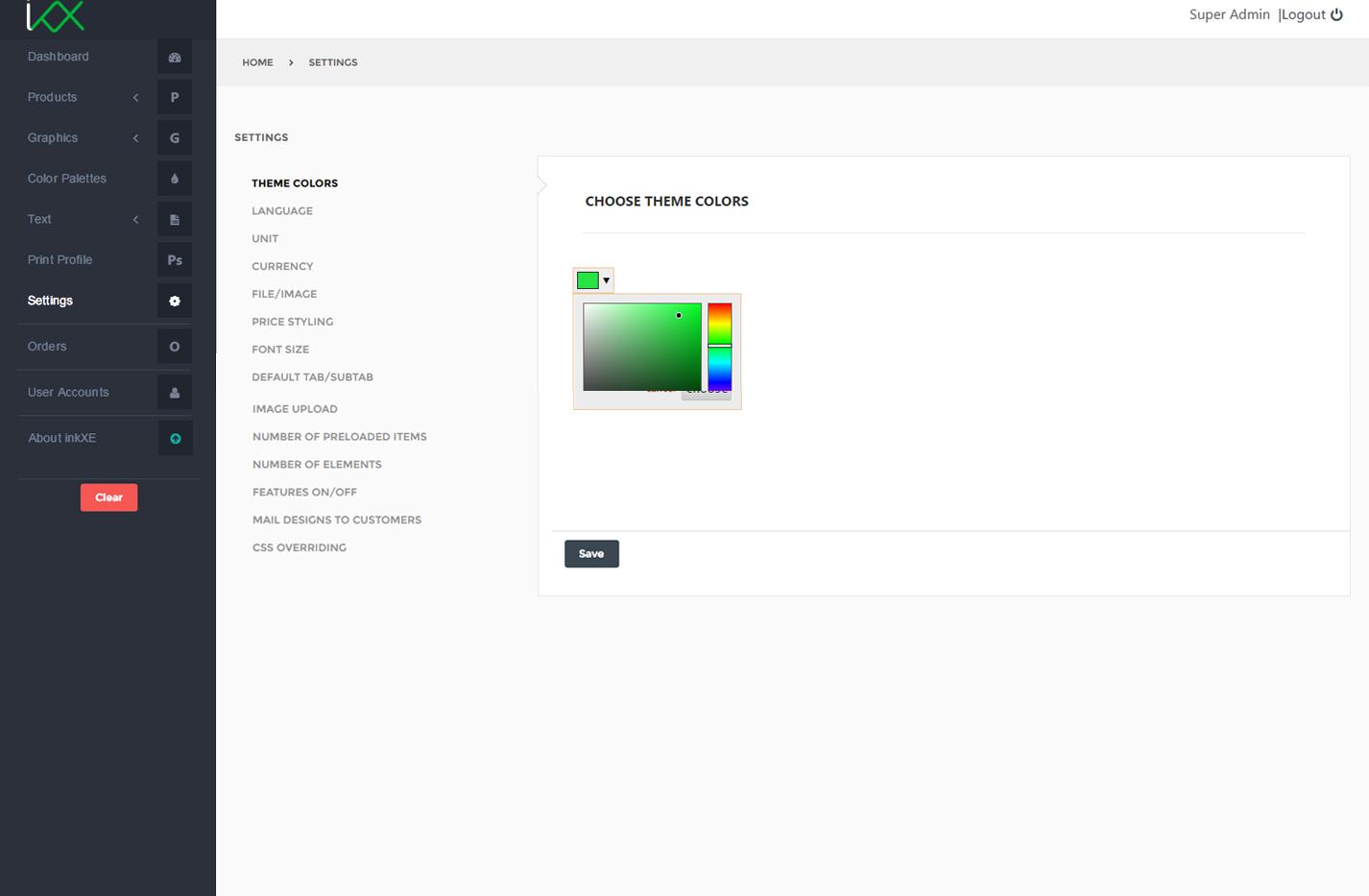 theme color change inkxe designer admin