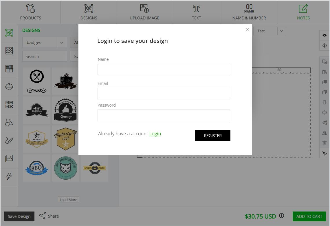 user login product customizer tool inkxe